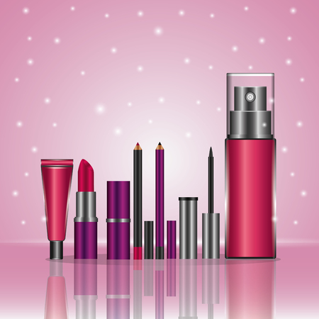 Cosmetic makeup products fashion set pink blur lights background vector illustration. Standard-Bild - 101123659