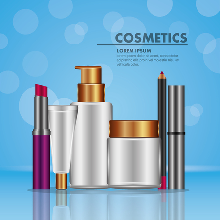 Mascara eyeliner lipstick spray and powder cosmetics makeup blur vector illustration. Çizim