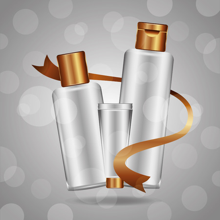 Cosmetics makeup bottles tube cream on gray background blur vector illustration. Illusztráció