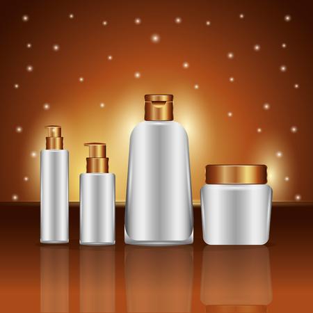 Cosmetics makeup skincare collection golden blur background vector illustration. Illustration