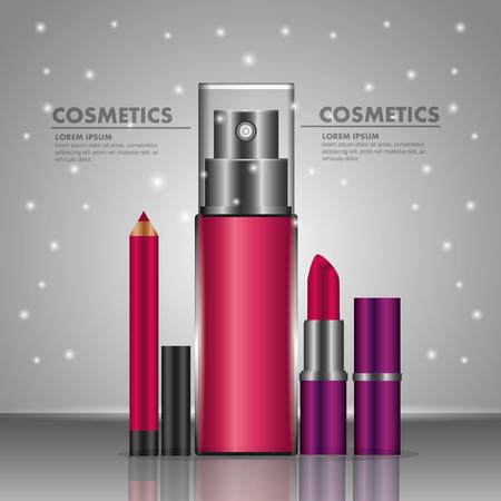 Fragrance lipstick lip liner cosmetics makeup bright background vector illustration.