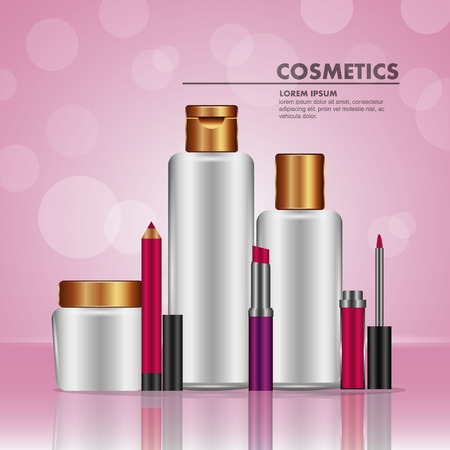 Toner oil cream lip liner and lipstick cosmetics makeup pink blur vector illustration.
