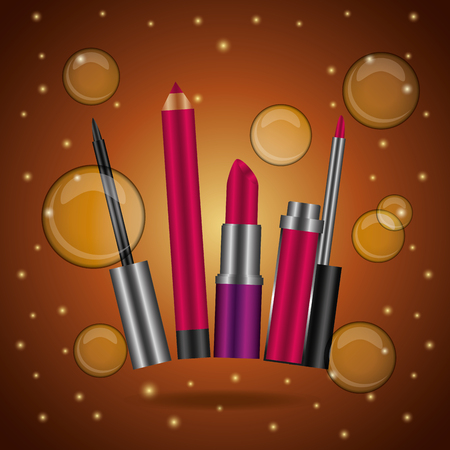 Cosmetics makeup mascara lip liner gloss lipstick brown blurred bubbles vector illustration. Illustration