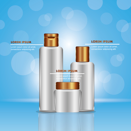 Cosmetics makeup package elegant skincare blue blur vector illustration.