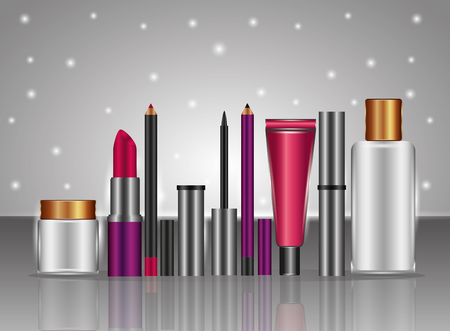 Cosmetic makeup products fashion set vector illustration. Çizim