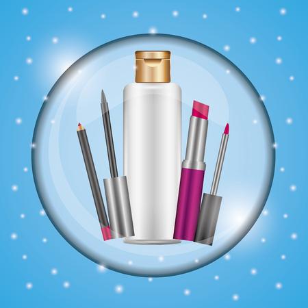 Cosmetics makeup package luxury gloss lipstick lip liner blue blur vector illustration.
