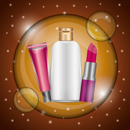 Cosmetic makeup lipstick gloss lotion bubble blur golden vector illustration