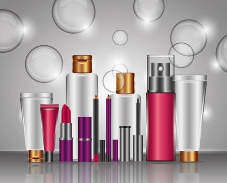 Cosmetic makeup products fashion set vector illustration Ilustrace