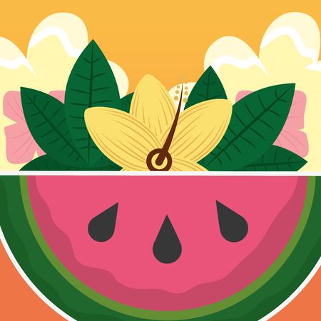 Summer time fresh fruit watermelon tropical vector illustration Illustration
