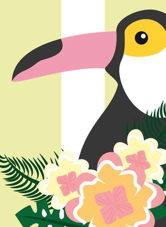 Summer time tropical toucan animal exotic flowers vector illustration