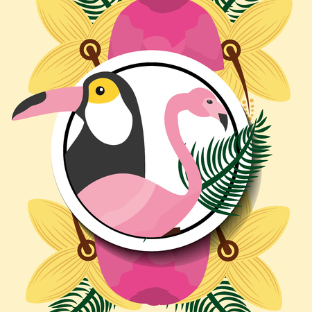 Summer time tropical animals toucan and flamingo vector illustration