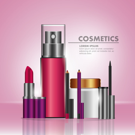 Cosmetic makeup products fashion set vector illustration Illustration