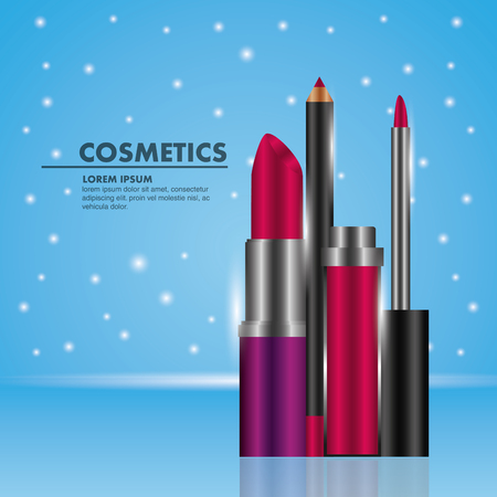 Cosmetic makeup lipstick gloss and eyeliner dotted blue background vector illustration Illustration
