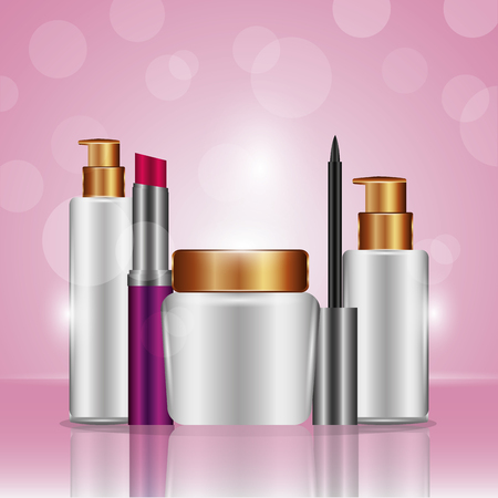 Cosmetic makeup mascara spray oil care lipstick pink degraded background vector illustration