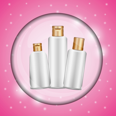 Cosmetic makeup set skin care bottles bubble pink degraded background vector illustration 向量圖像