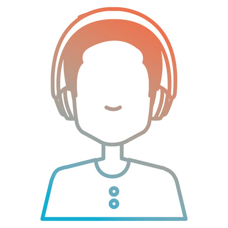 young man with earphones vector illustration design