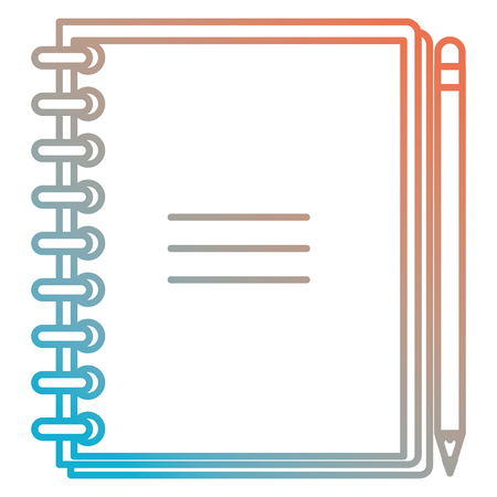 Notebook school with pencil vector illustration design.