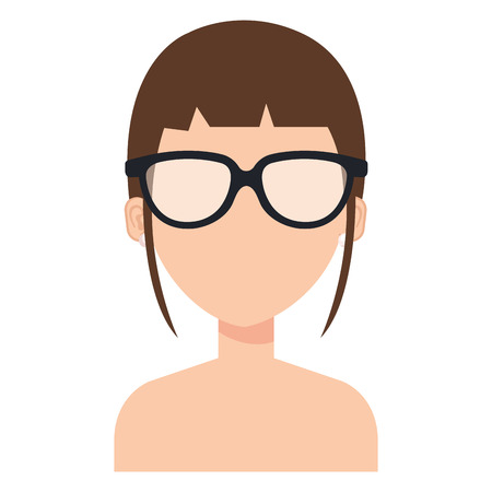 Beautiful and young woman with glasses shirtless vector illustration design.
