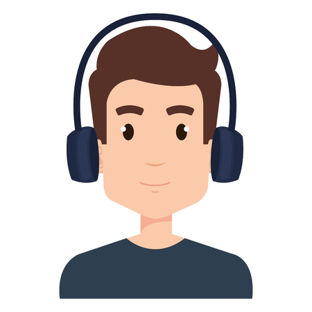 Young man with earphones vector illustration design.