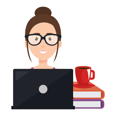Beautiful woman with laptop and books vector illustration design. Illustration