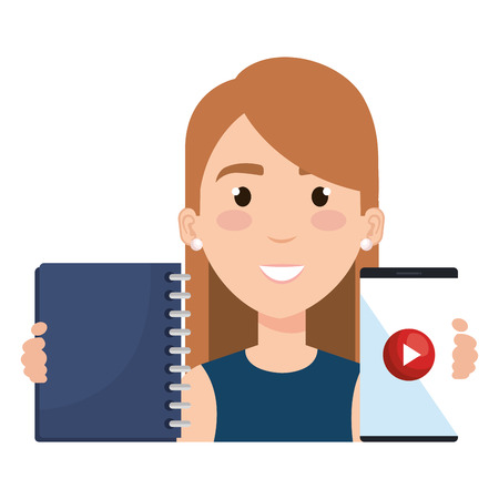 Beautiful woman with smartphone and notebook vector illustration design.
