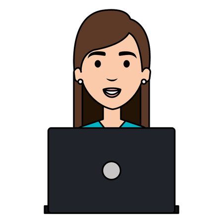 beautiful woman with laptop avatar character vector illustration design