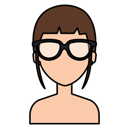beautiful and young woman with glasses shirtless vector illustration design