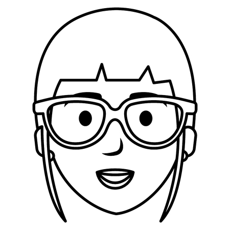 beautiful woman with glasses head avatar character vector illustration design Illustration