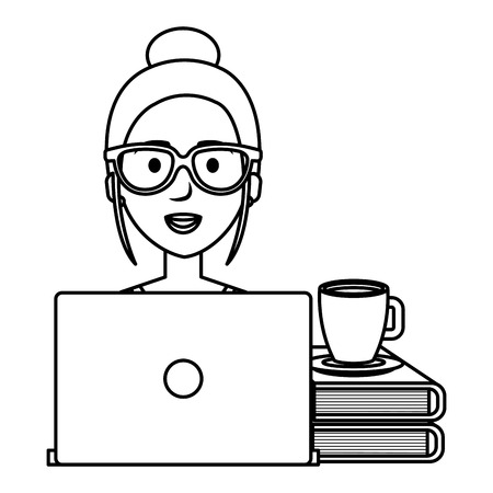 beautiful woman with laptop and books vector illustration design