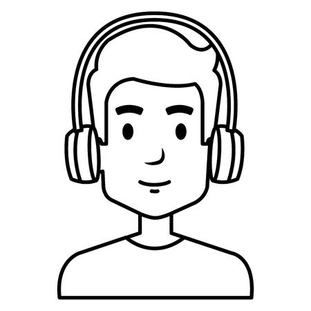 A young man with headphones vector illustration design Иллюстрация