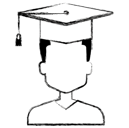 young man graduating with uniform vector illustration design