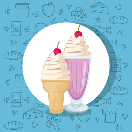 milkshake and ice cream vector illustration design