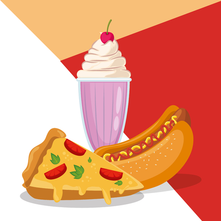 hot dog and pizza with ice cream vector illustration design