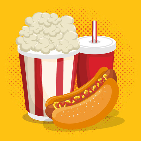 delicious fast food menu vector illustration design  イラスト・ベクター素材