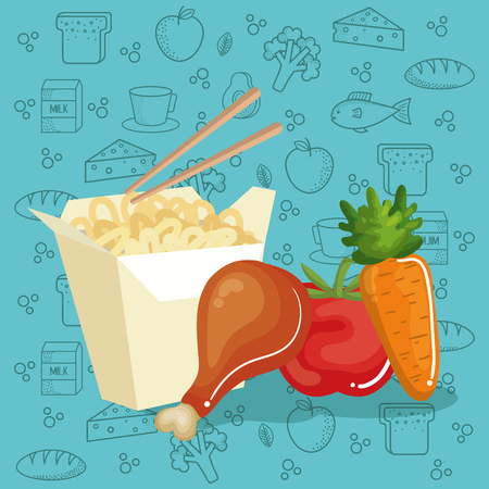 delicious food menu icons vector illustration design