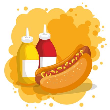 hot dog and sauces bottles vector illustration design Иллюстрация