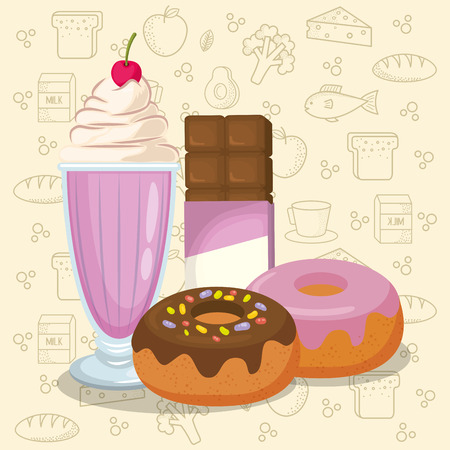 milkshake and donuts with chocolate bar vector illustration design