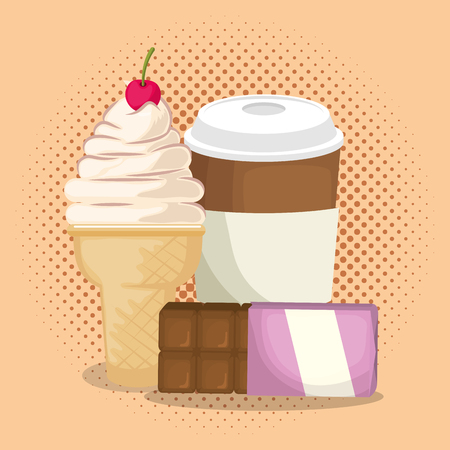 ice cream and coffee with chocolate bar vector illustration design Illustration