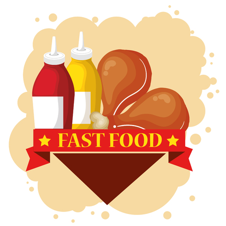 chicken and sauces bottles vector illustration design