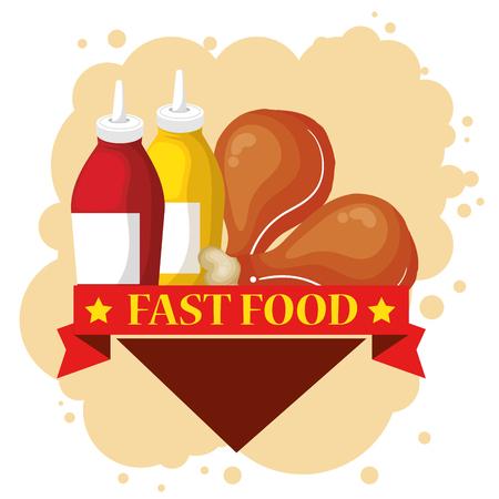 chicken and sauces bottles vector illustration design