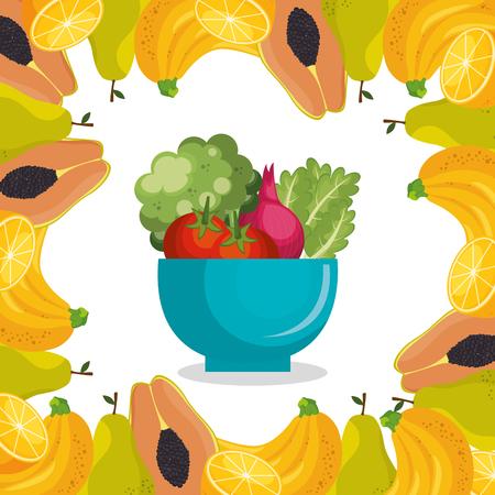 fruits and vegetables healthy food vector illustration design