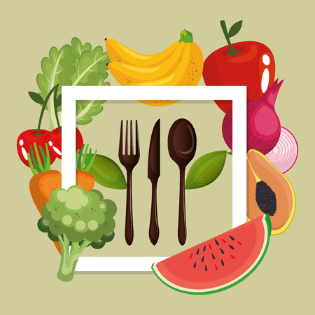 fruits and vegetables healthy food vector illustration design Standard-Bild - 101310168