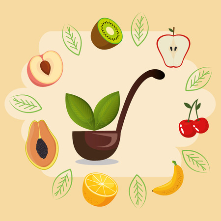 fresh fruits healthy food vector illustration design  イラスト・ベクター素材
