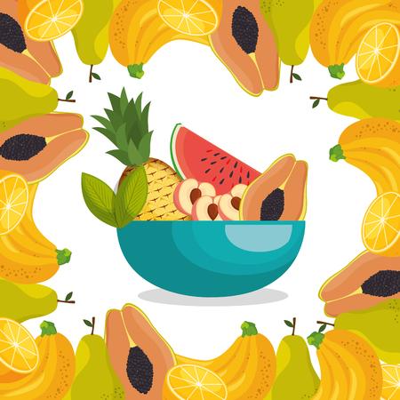 fresh fruits healthy food vector illustration design Stock Vector - 101313954