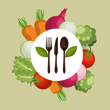 fresh vegetables healthy food vector illustration design Archivio Fotografico - 101313955