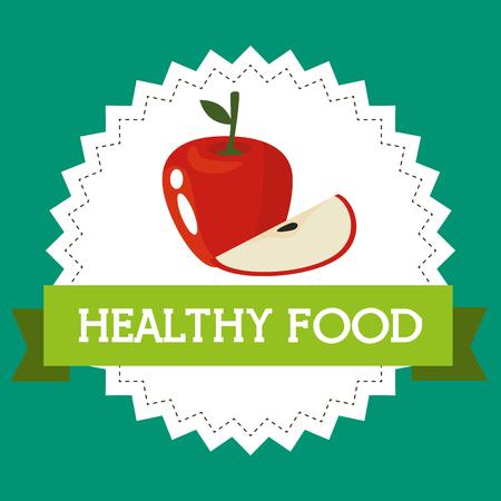 fresh apples healthy food vector illustration design