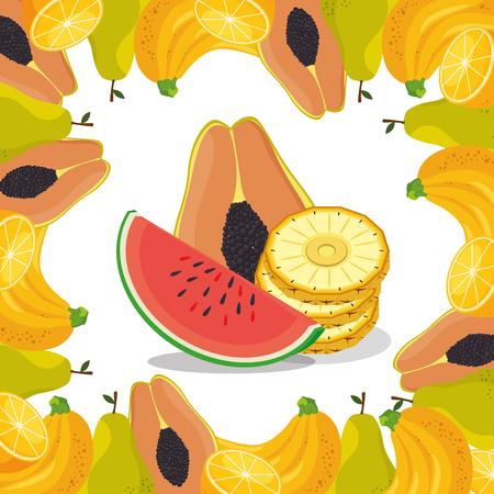 fresh fruits healthy food vector illustration design Illustration