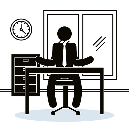 figure businessman in the office avatar silhouette vector illustration design Archivio Fotografico - 101313960