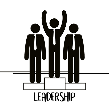 group of business people with podium teamwork vector illustration design