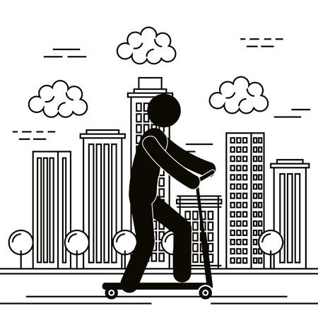 figure human in skateboard silhouette vector illustration design